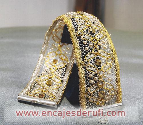 Pulsera reversible en hilos de oro y plata